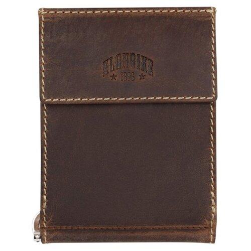 Бумажник KLONDIKE Yukon, с зажимом для денег, натуральная кожа в коричневом цвете, 12 х 1,5 х 9 см