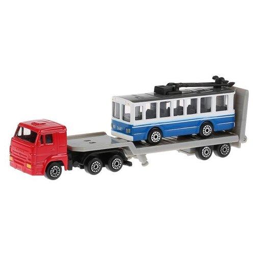 Купить Набор машин ТЕХНОПАРК SB-15-04-WB(TROLLEY) красно-серый/бело-синий, Машинки и техника
