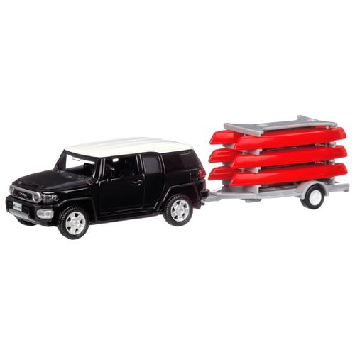 Купить Внедорожник Автопанорама Toyota FJ Cruiser с прицепом (JB1251174) 1:43 20.5 см черный/красный, Машинки и техника