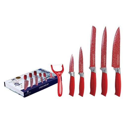 Набор MunchenHaus 5 ножей и овощечистка MH-1112/MH-1113 красныйНаборы ножей<br>