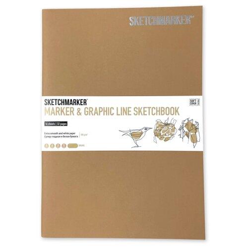 Фото - Скетчбук SketchMarker Marker&Graphic Line 25 х 17.6 см, 180 г/м², 16 л. коричневый блокнот graphic frankfurt l 256 стр 16 5 х 22 см 120 г м2