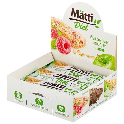 Злаковый батончик Matti Diet Яблоко, 6 шт matti батончик мюсли кокос и молочный шоколад 6 шт по 24 г