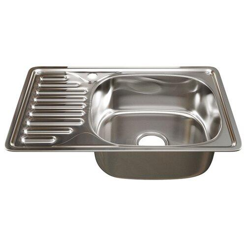 Врезная кухонная мойка 66 см Mixline 42х66 (0,8) 3 1/2 правая нержавеющая сталь/глянец врезная кухонная мойка 51 см mixline d51 0 6 3 1 2 нержавеющая сталь глянец
