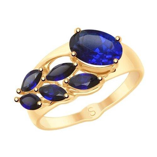 SOKOLOV Кольцо из золота с синими корунд (синт.) 715286, размер 18