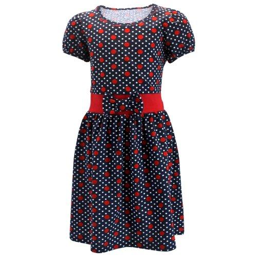 Платье TREND размер 92-52(26), темно-синий/белый, красный, горох платье для девочки lucky child романтик цвет белый красный темно синий 18 61 размер 86 92 2 года