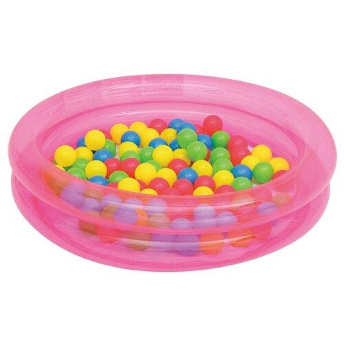 Детский бассейн Bestway 2-Ring с шариками 91x20 см 51085 розовый bestway игровая с шариками 68080
