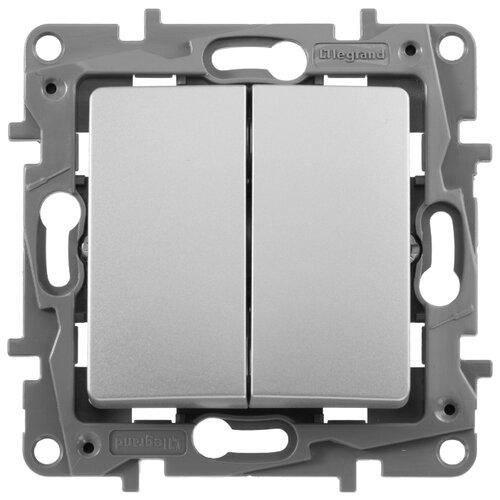 Выключатель 2х1-полюсный Legrand Etika 672402,10А, алюминиевый выключатель 2х1 полюсный legrand valena allure 752905 10а алюминиевый
