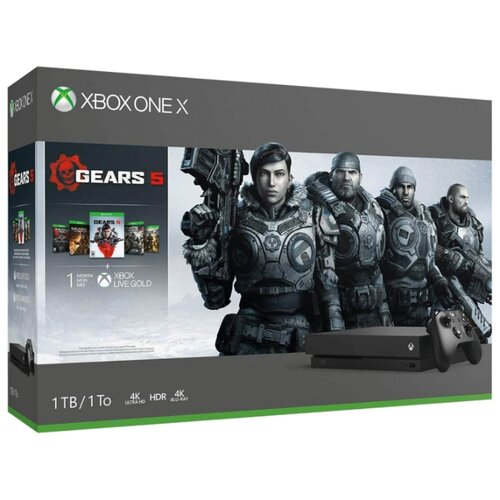 цена на Игровая приставка Microsoft Xbox One X черный + Gears 5 + Gears of War Ultimate Edition + Gears of War 2, 3, 4 + XboxLiveGold 1мес