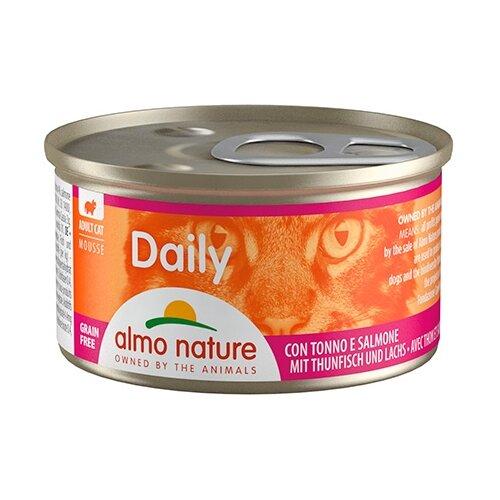 Фото - Корм для кошек Almo Nature Daily Menu с тунцом, с лососем 85 г консервы для кошек almo nature нежный мусс с уткой 85 г