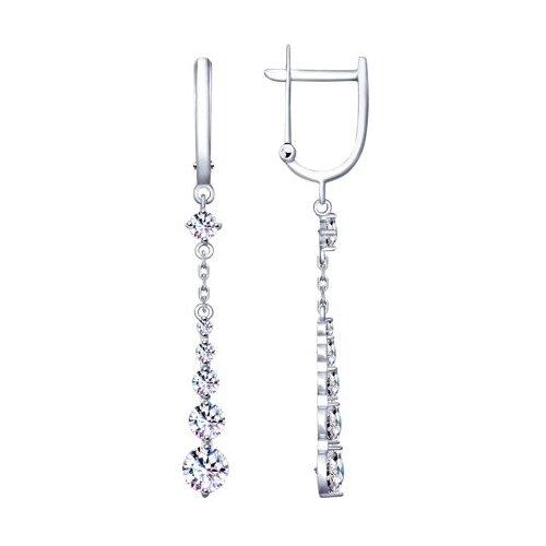 SOKOLOV Длинные серебряные серьги с фианитами 94020517 длинные серебряные серьги с фианитами sokolov