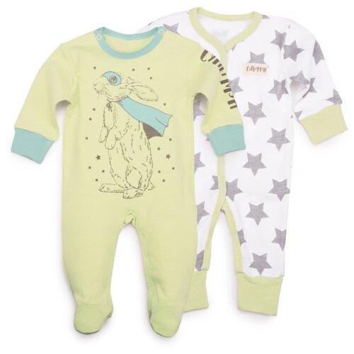 Комбинезон Happy Baby размер 68, белый/зеленый брюки happy baby baby crawlers set 90034 размер 56 зеленый белый