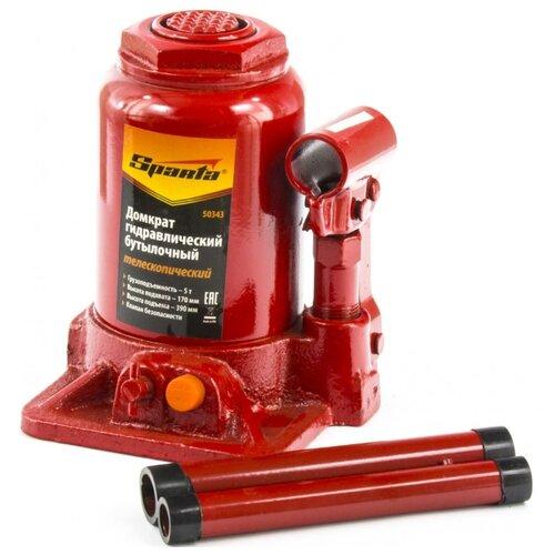 Домкрат бутылочный гидравлический Sparta 50343 (5 т) красный