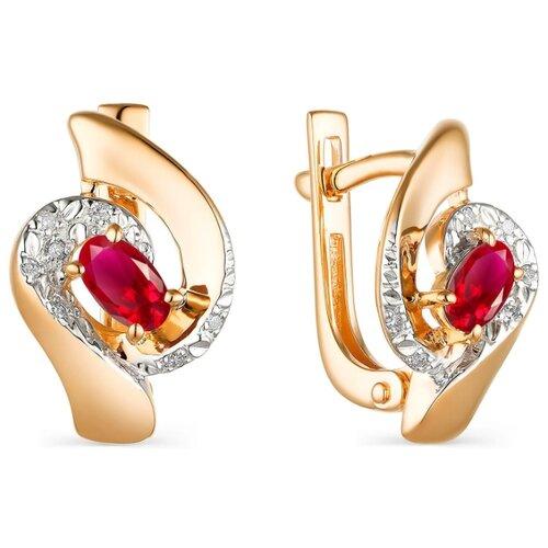Фото - АЛЬКОР Серьги с рубинами и бриллиантами из красного золота 23610-103 алькор серьги с рубинами и бриллиантами из красного золота 23503 103