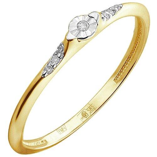 Эстет Кольцо с 7 бриллиантами из комбинированного золота 01К6612256Ж, размер 16.5 ЭСТЕТ