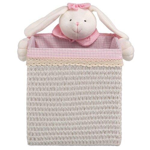 Handy Home Корзина для белья Зайчик 25x25x26 см белый/розовый корзина бельевая handy home решетка д410 ш290 в300 белый