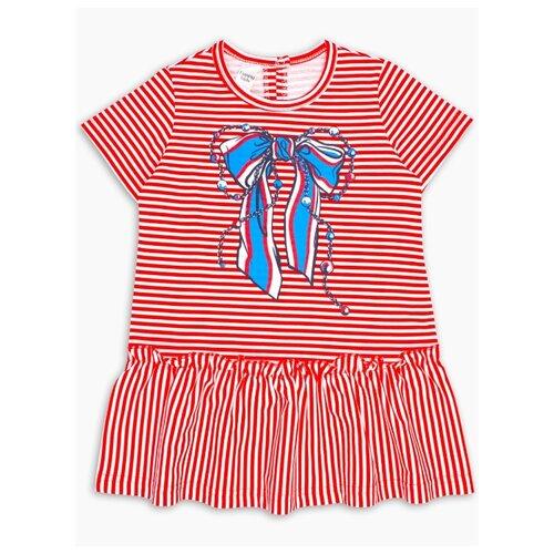 Платье Веселый Малыш размер 110, красный/белый/синий платье oodji ultra цвет красный белый 14001071 13 46148 4512s размер xs 42 170