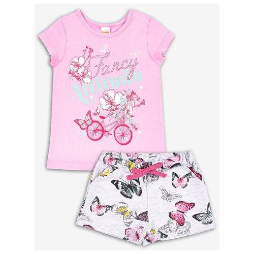 Комплект одежды Веселый Малыш размер 128, розовый/серый комплект одежды looklie размер 128 134 розовый