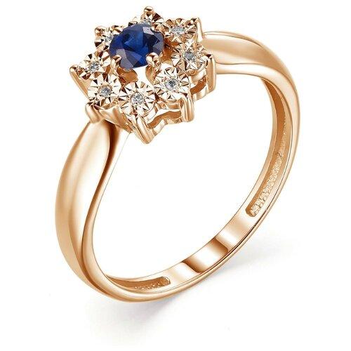 АЛЬКОР Кольцо с сапфиром и бриллиантами из красного золота 13224-102, размер 18