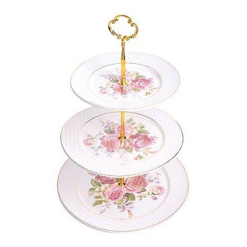 Loraine Конфетница 28664 26 см белый/розовый по цене 1 044