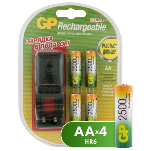 Фото - Аккумулятор Ni-Mh 2500 мА·ч GP Rechargeable 2500 Series AA + зарядное устройство, 4 шт. аккумулятор ni mh 1000 ма·ч gp rechargeable 1000 series aaa зу 4 шт блистер