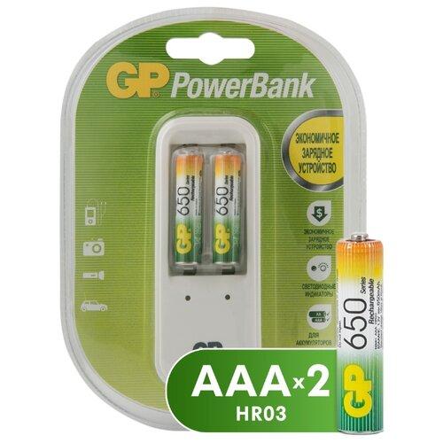 Фото - Аккумулятор Ni-Mh 650 мА·ч GP Rechargeable 650 Series AAA + Зарядное устройство PowerBank, 2 шт. аккумулятор ni mh 1000 ма·ч gp rechargeable 1000 series aaa зу 4 шт блистер