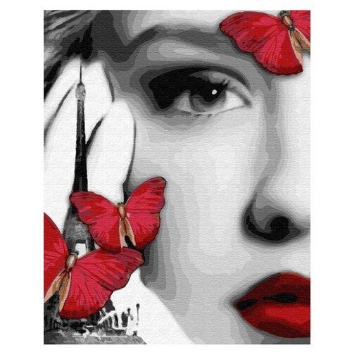 Купить ВанГогВоМне Картина по номерам Девушка и красные бабочки 40х50 см (ZX23218), Картины по номерам и контурам