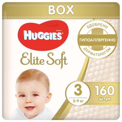 Купить Huggies подгузники Elite Soft 3 (5-9 кг), 160 шт., Подгузники