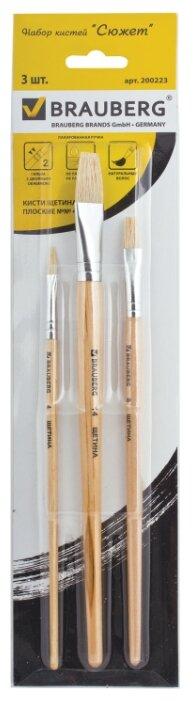 Набор кистей BRAUBERG щетина, плоские, с короткой ручкой, 3 шт. (200223)
