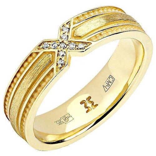 Эстет Кольцо с 9 бриллиантами из жёлтого золота 01О630328, размер 18