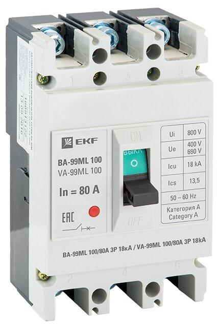 Автоматический выключатель EKF ВА-99МL/100 3P (термомагнитный) 18kA
