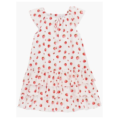 Платье Mini Maxi Клубника размер 134, белый/розовый платье oodji ultra цвет красный белый 14001071 13 46148 4512s размер xs 42 170