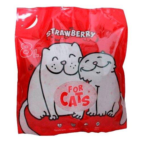 Фото - Впитывающий наполнитель For Cats с ароматом клубники, 8 л впитывающий наполнитель for cats с ароматом зеленого чая 4 л