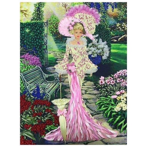 Купить Набор Дама в саду вышивка лентами 27х38 Многоцветница МЛ(н)-3004, Наборы для вышивания