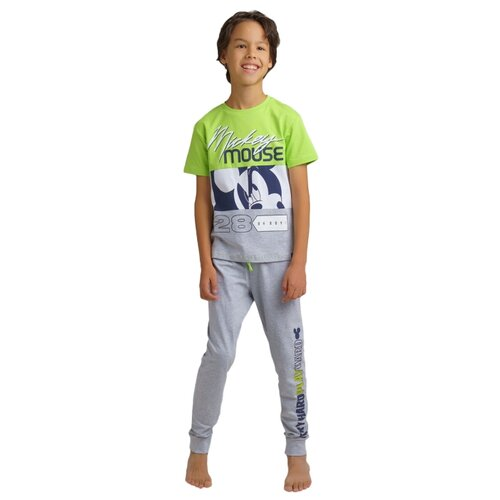Пижама playToday размер 128, серый/светло-зеленый/белый