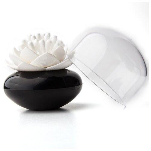 Контейнер для хранения ватных палочек Qualy Lotus черный-белый