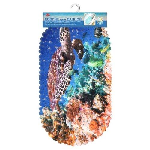 Коврик Мультидом Море, 69х39см синий/коричневый