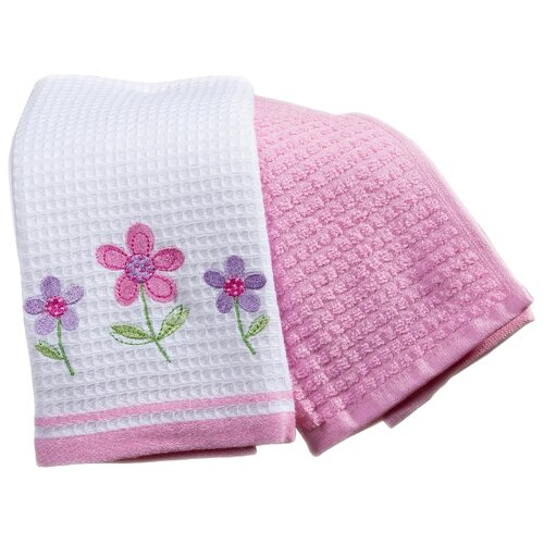Arya Набор полотенец Bahar Цветы кухонное 40х60 см экрю, розовый полотенца arya комплект из 6 ти полотенец arya birdy 30 30 см бело розовый