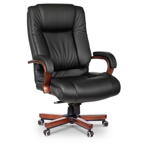 Компьютерное кресло Бюрократ T-9925WALNUT для руководителя, обивка: натуральная кожа, цвет: черный компьютерное кресло бюрократ t 9927walnut low для руководителя обивка натуральная кожа цвет черный
