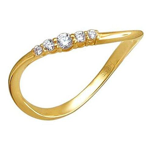 Эстет Кольцо с 5 фианитами из жёлтого золота 01К139693, размер 17.5