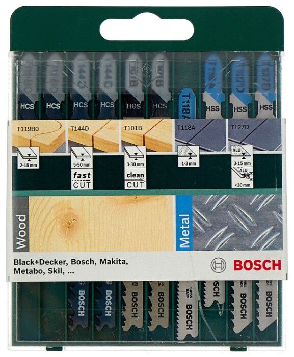 Набор пилок для лобзика BOSCH Mixed Wood and Metal 2609256746 10 шт.