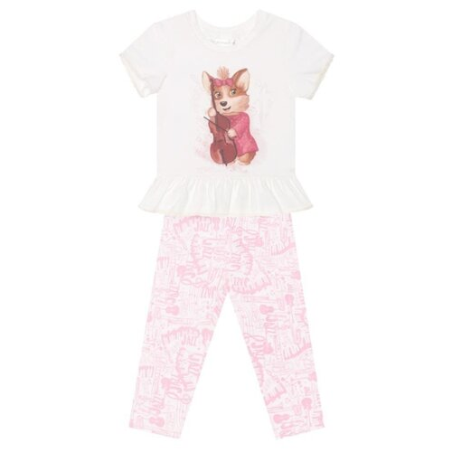 Пижама КОТОФЕЙ размер 98, белый/розовый босоножки котофей размер 29 золотой розовый