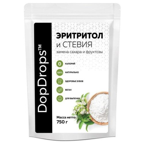 DopDrops сахарозаменитель эритритол и стевия (сладость 1:1) порошок 750 г