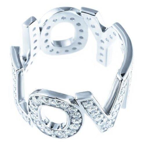 JV Кольцо с фианитами из серебра SR01257A-KO-001-WG, размер 18 jv кольцо с фианитами из серебра dm2370r ko 001 wg размер 18