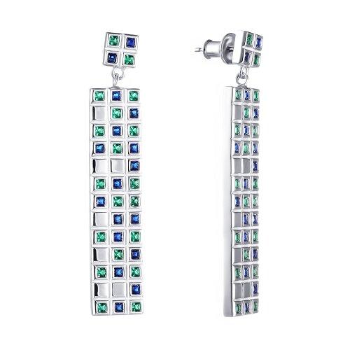 JV Серьги из серебра с фианитами SY-356142-E-SR-003-WG