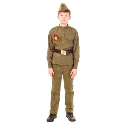 Купить Костюм пуговка Солдат (2032/1 к-18), коричневый, размер 104, Карнавальные костюмы