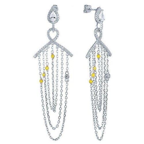 цена на JV Серьги с агатами и фианитами из серебра WE8318-AG-001-WG