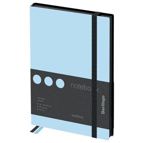 Купить Ежедневник Berlingo Instinct недатированный, искусственная кожа, А6, 80 листов, черный/аквамарин, Ежедневники, записные книжки