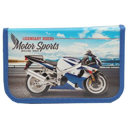 Купить Prof-Press Пенал Бело-синий мотоцикл (ПН-5890) синий, Пеналы