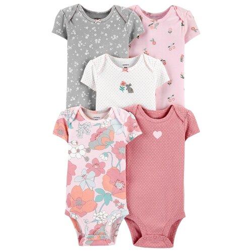 Купить Набор боди Carter's (5 шт.) размер 12M, розовый/белый/серый, Боди