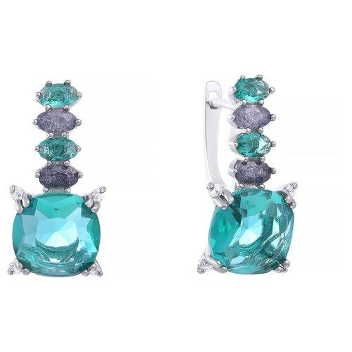 JV Серебряные серьги с кубическим цирконием, ювелирным стеклом AES34966W-SR-US-004-WG